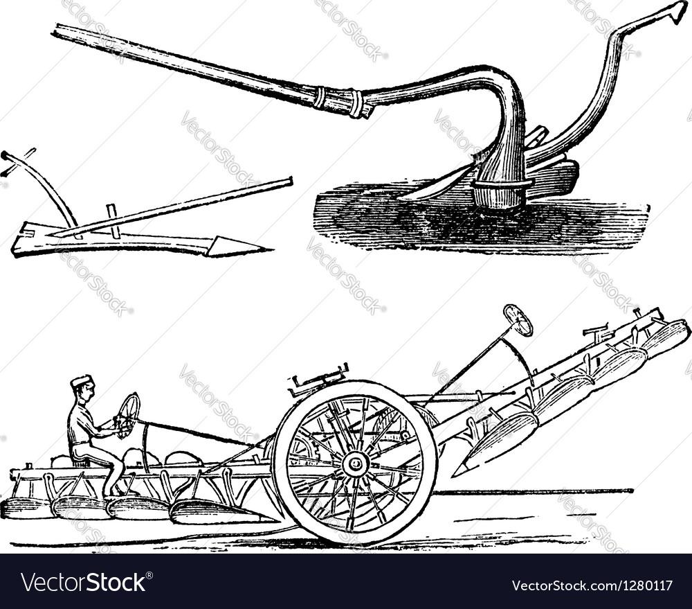 Plough vintage engraving vector | Price: 1 Credit (USD $1)