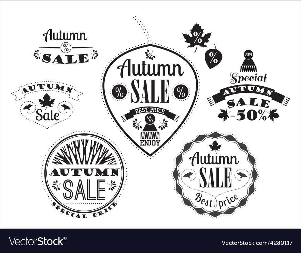 Set of autumn sale labels and signs vector | Price: 1 Credit (USD $1)