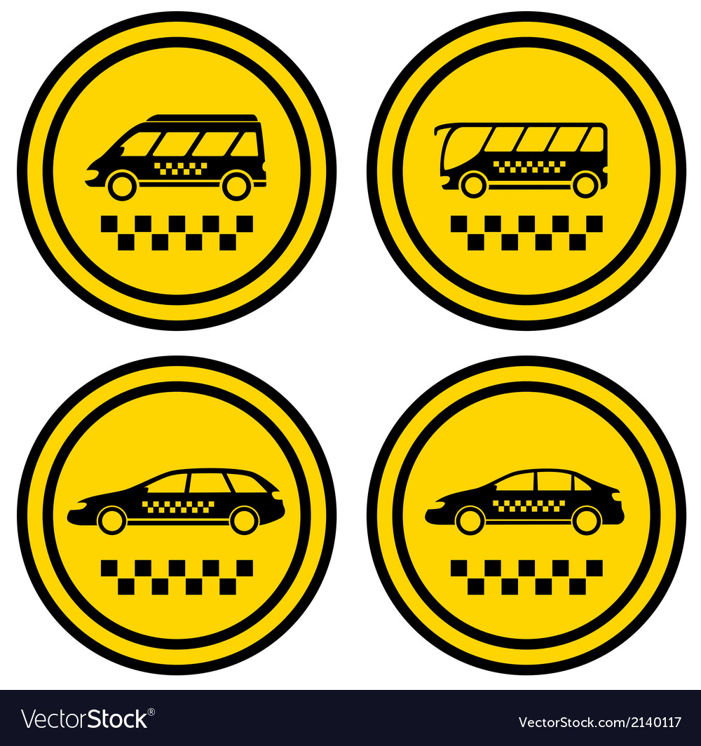 Set round taxi icons vector | Price: 1 Credit (USD $1)