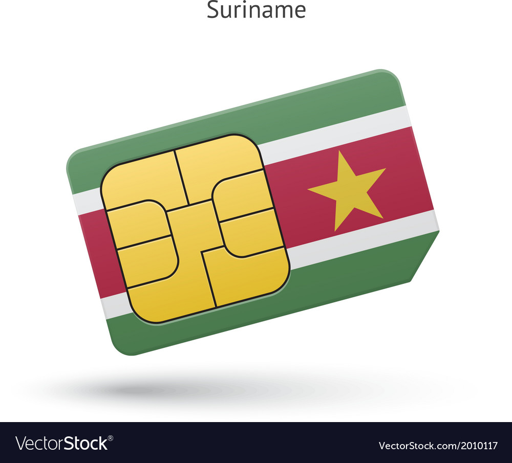 Suriname mobile phone sim card with flag vector | Price: 1 Credit (USD $1)