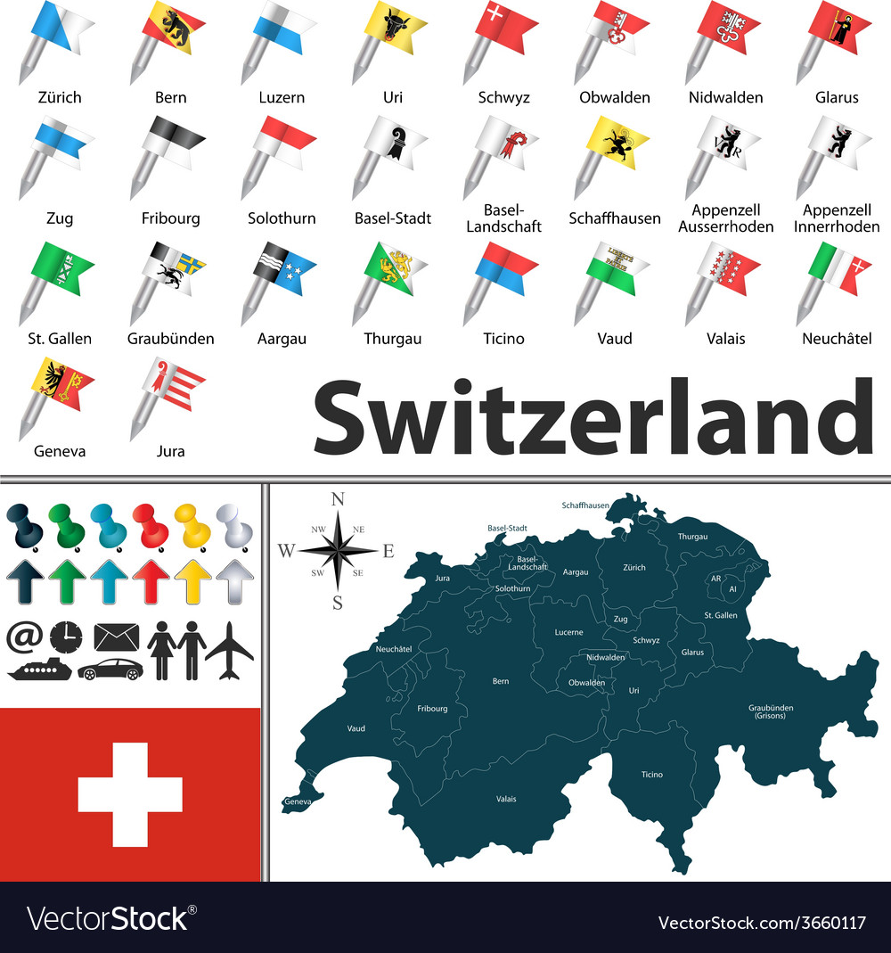 Switzerland map with flags vector | Price: 1 Credit (USD $1)