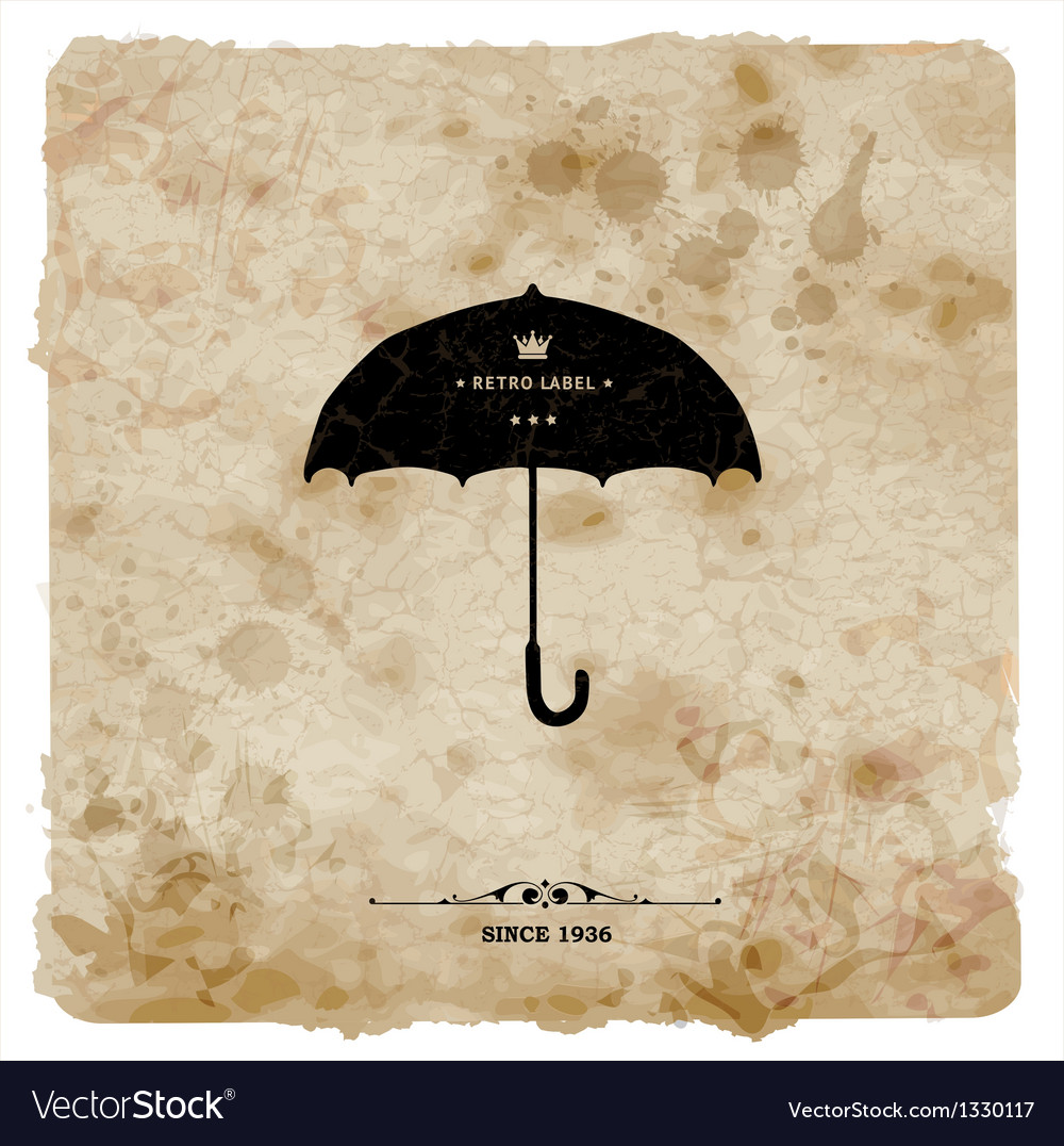 Vintage postcard retro umbrella on grunge vector | Price: 1 Credit (USD $1)