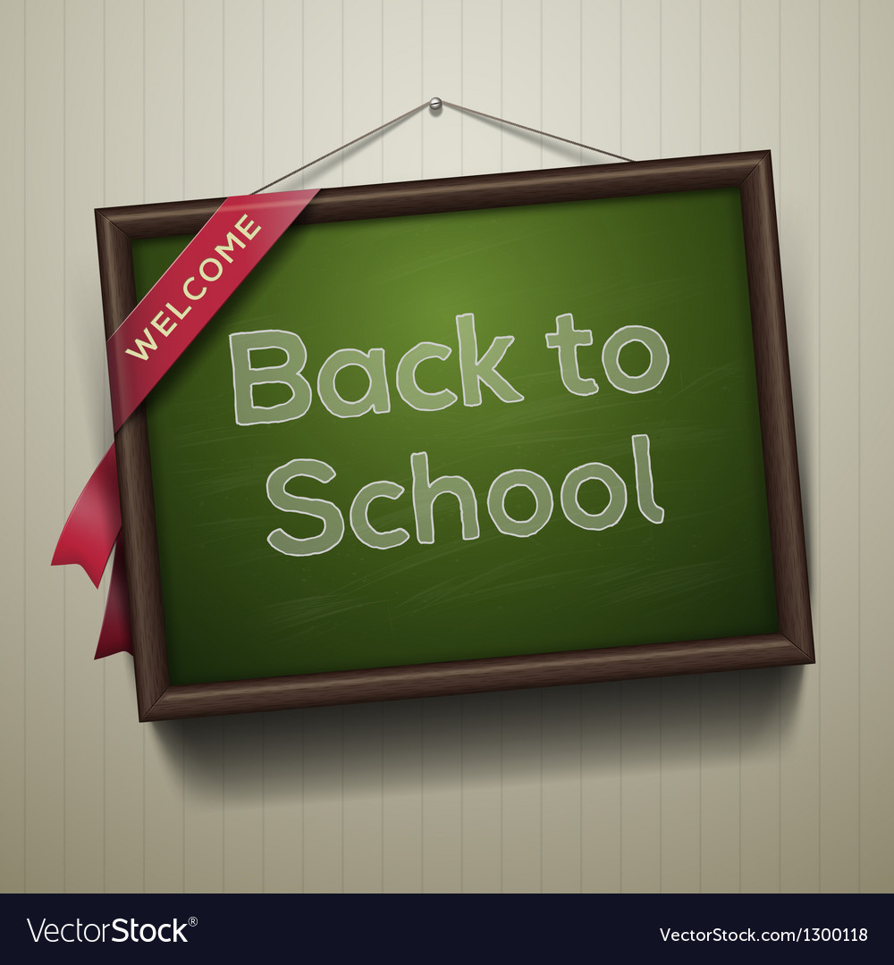 Back to school written on blackboard with chalk vector | Price: 3 Credit (USD $3)