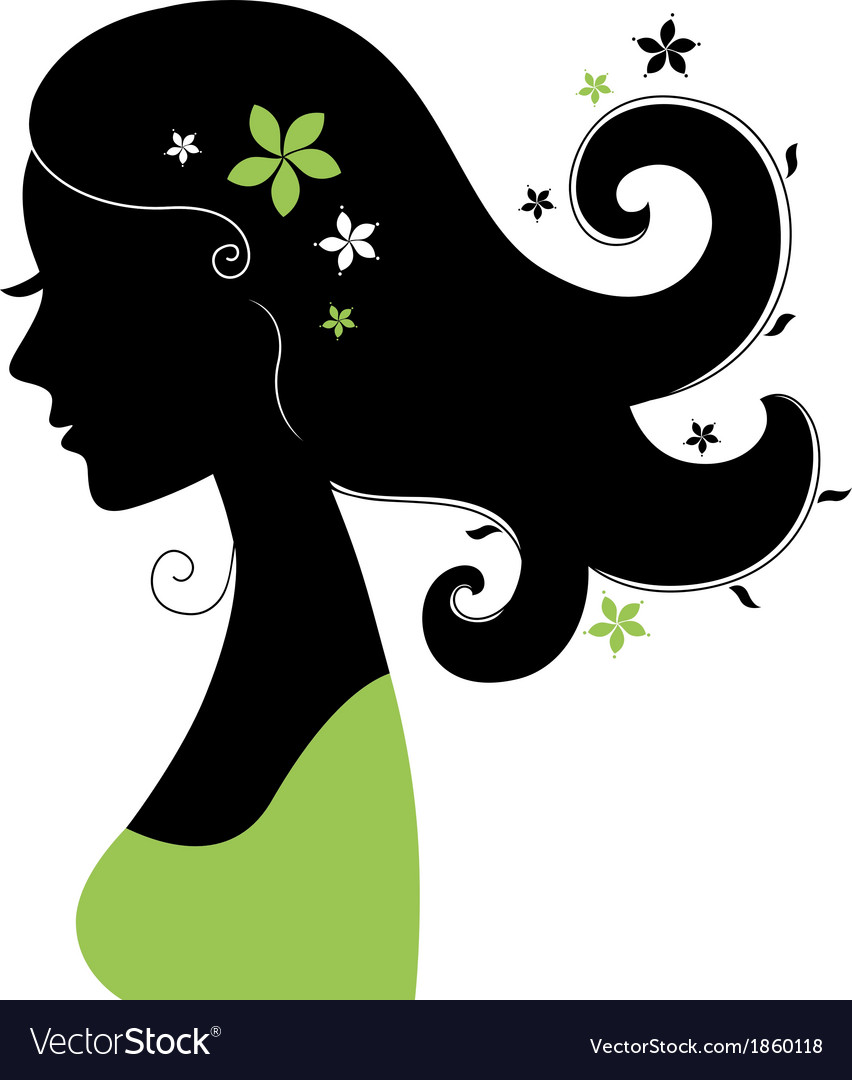 Beautiful woman silhouette with flowers in hair vector | Price: 1 Credit (USD $1)