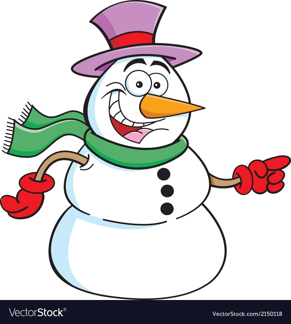 Cartoon pointing snowman vector | Price: 1 Credit (USD $1)