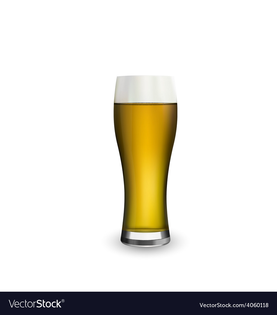 Close up realistic glass of beer isolated on white vector | Price: 1 Credit (USD $1)
