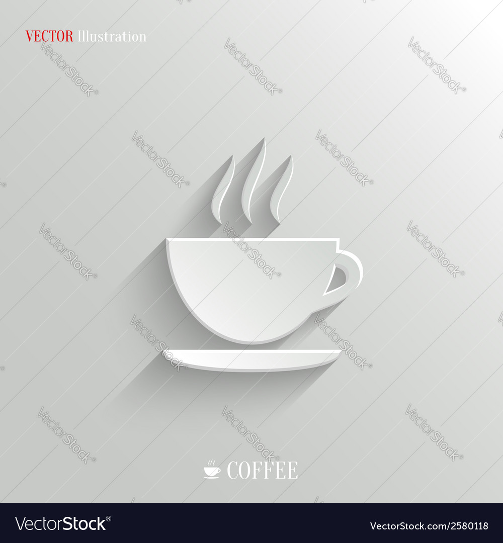 Coffee icon - white app button vector   Price: 1 Credit (USD $1)