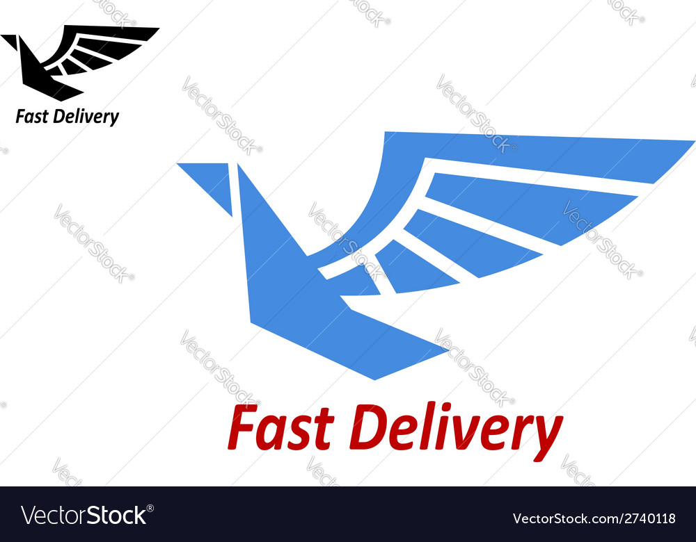 Delivery or shipping emblem with flying bird vector | Price: 1 Credit (USD $1)