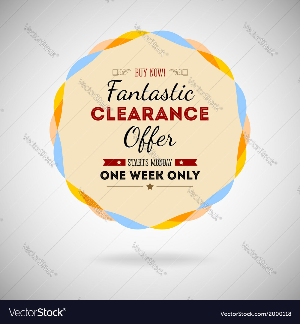 Fantastic clearance offer badge vintage style for vector | Price: 1 Credit (USD $1)