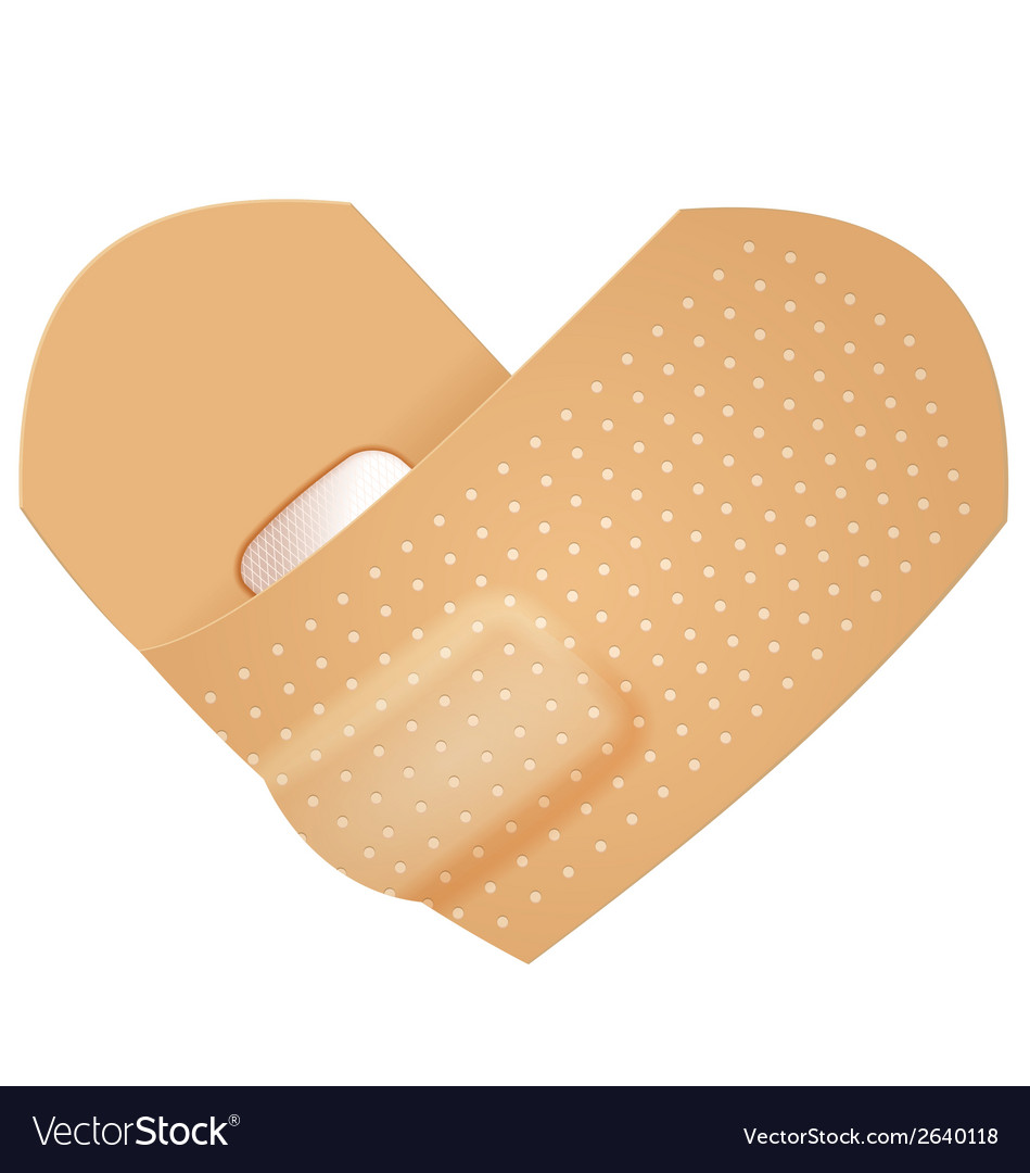 First aid band folded heart vector   Price: 1 Credit (USD $1)