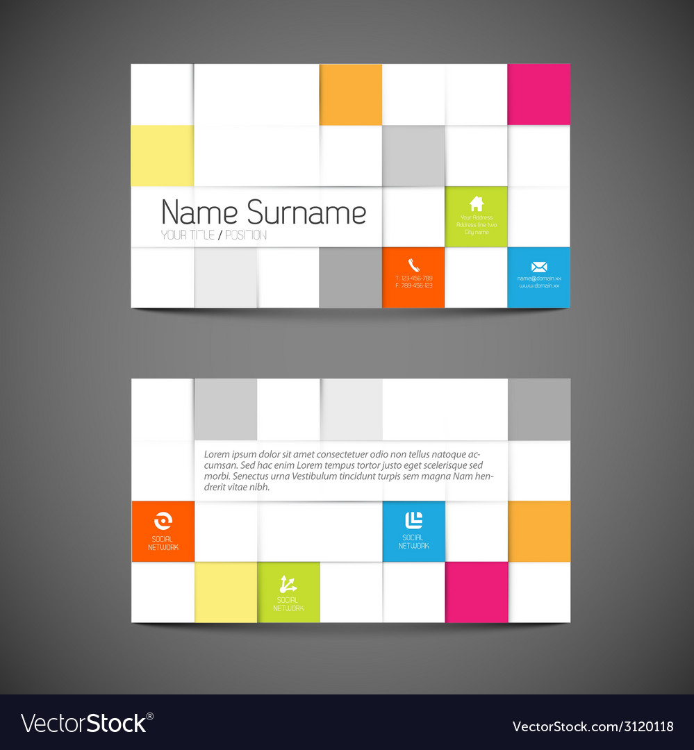 Modern mosaic business card template with flat vector   Price: 1 Credit (USD $1)