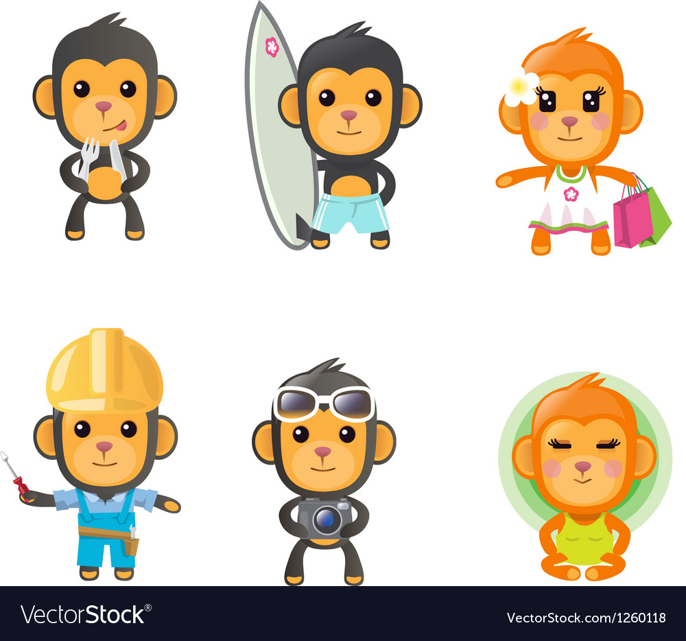 Monkey activity set vector | Price: 5 Credit (USD $5)