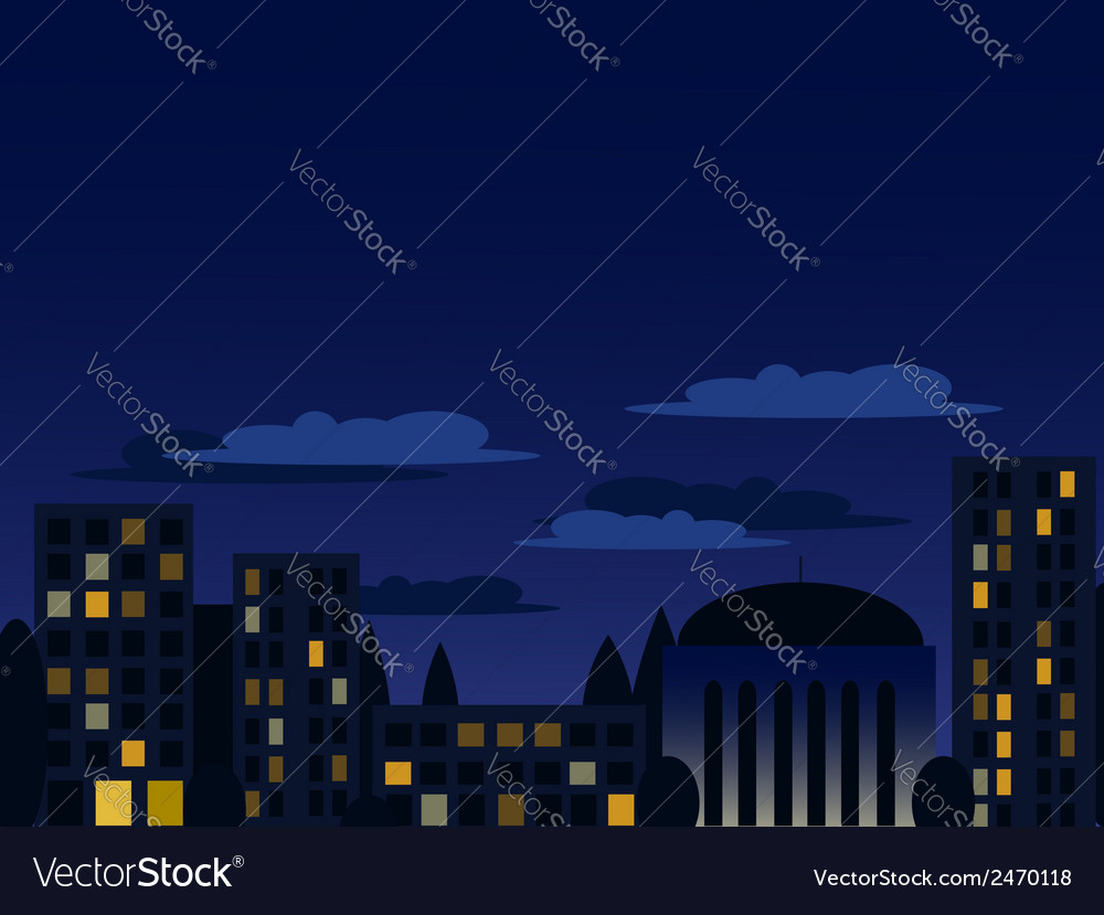 Night cityscape in blue colors vector | Price: 1 Credit (USD $1)