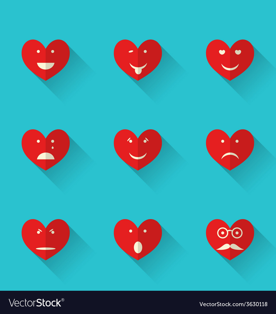 Set flat icons of smiles heart style with long vector | Price: 1 Credit (USD $1)