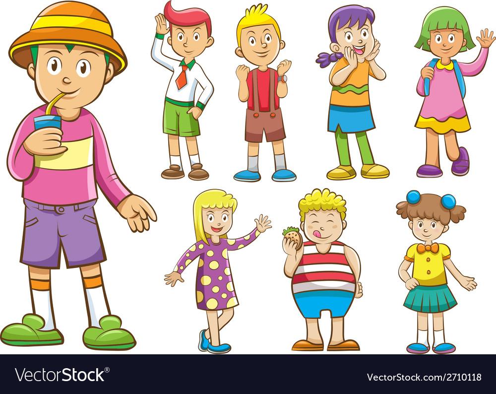 Set of cartoon kids vector   Price: 3 Credit (USD $3)