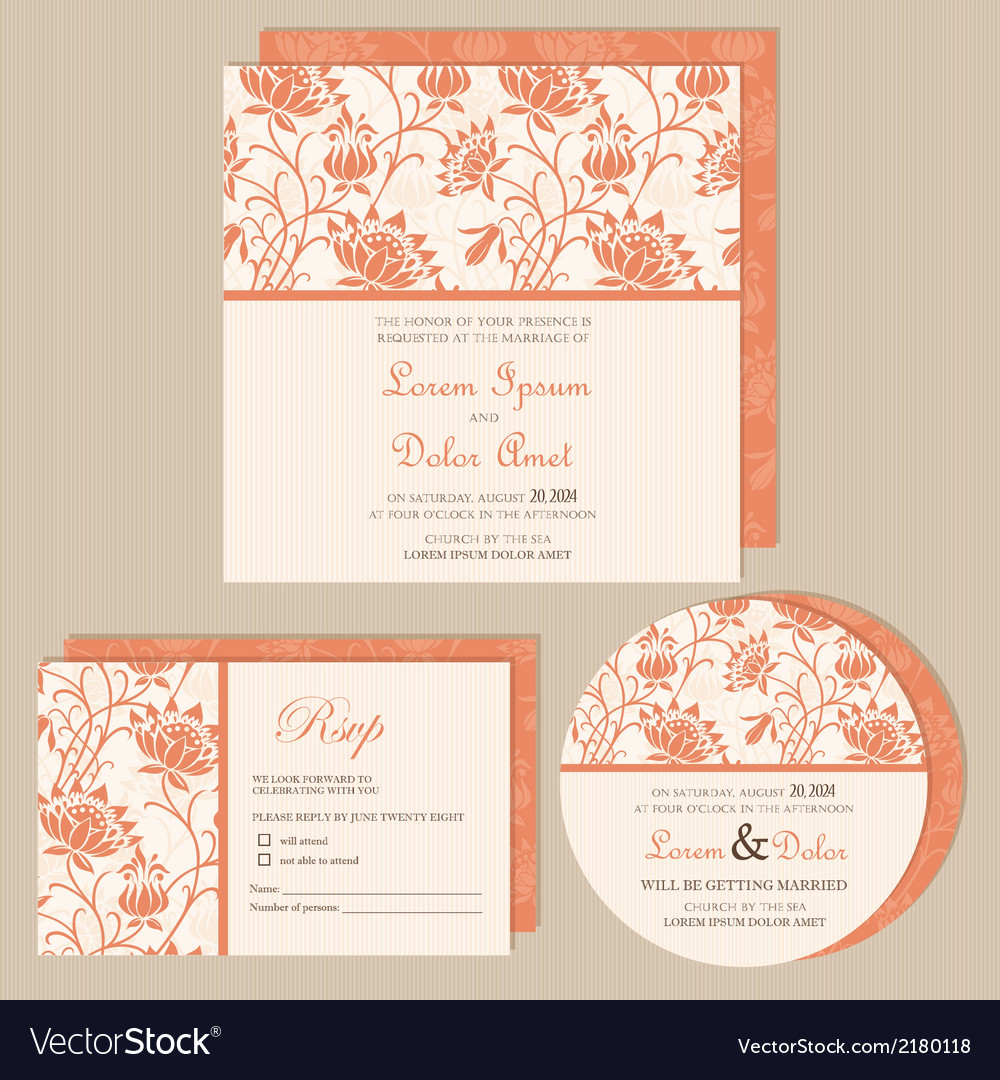 Set of wedding invitations vector | Price: 1 Credit (USD $1)