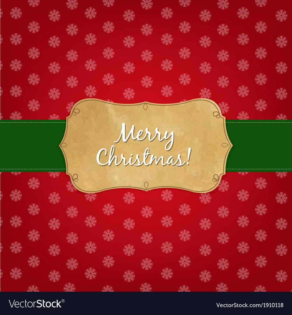Vintage red merry christmas label vector | Price: 1 Credit (USD $1)