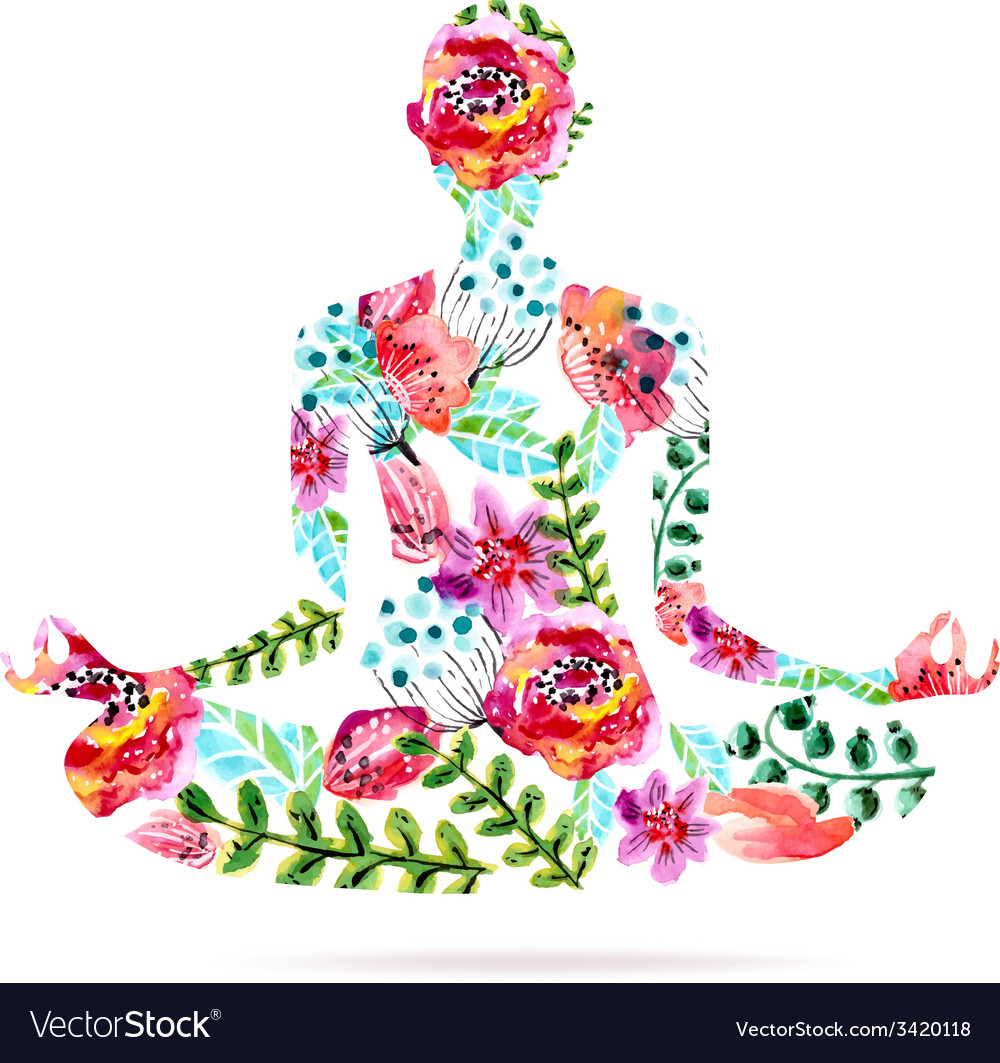 Yoga pose watercolor bright floral vector | Price: 1 Credit (USD $1)