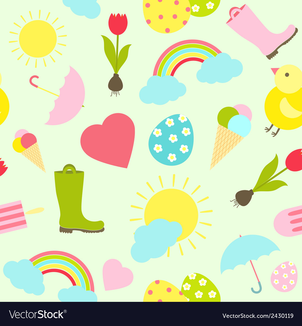 Colorful fresh spring seamless background pattern vector | Price: 1 Credit (USD $1)