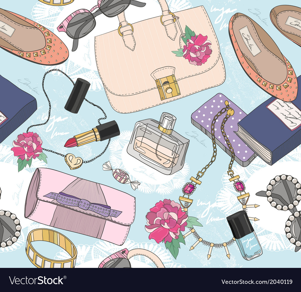 Cute seamless fashion pattern for girls or woman vector | Price: 1 Credit (USD $1)
