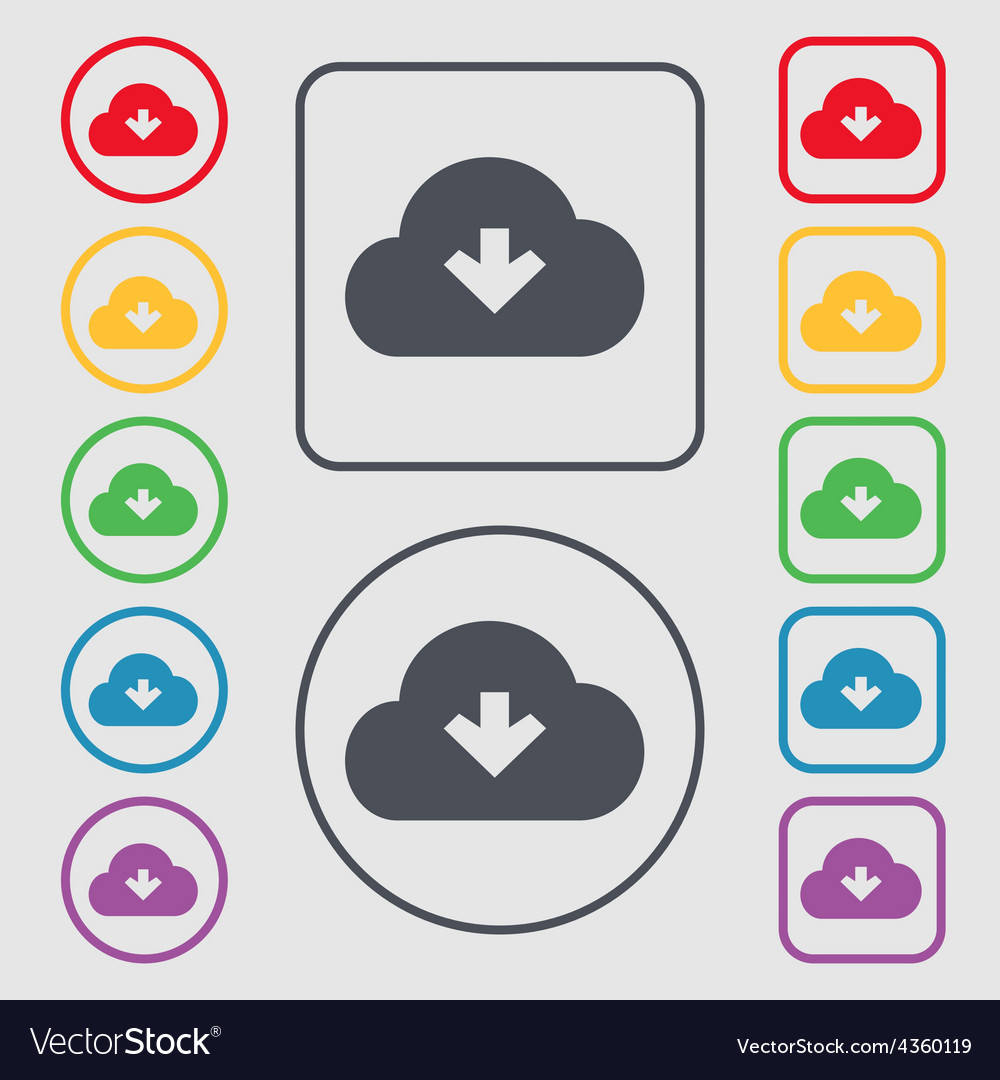 Download from cloud icon sign symbol on the round vector | Price: 1 Credit (USD $1)