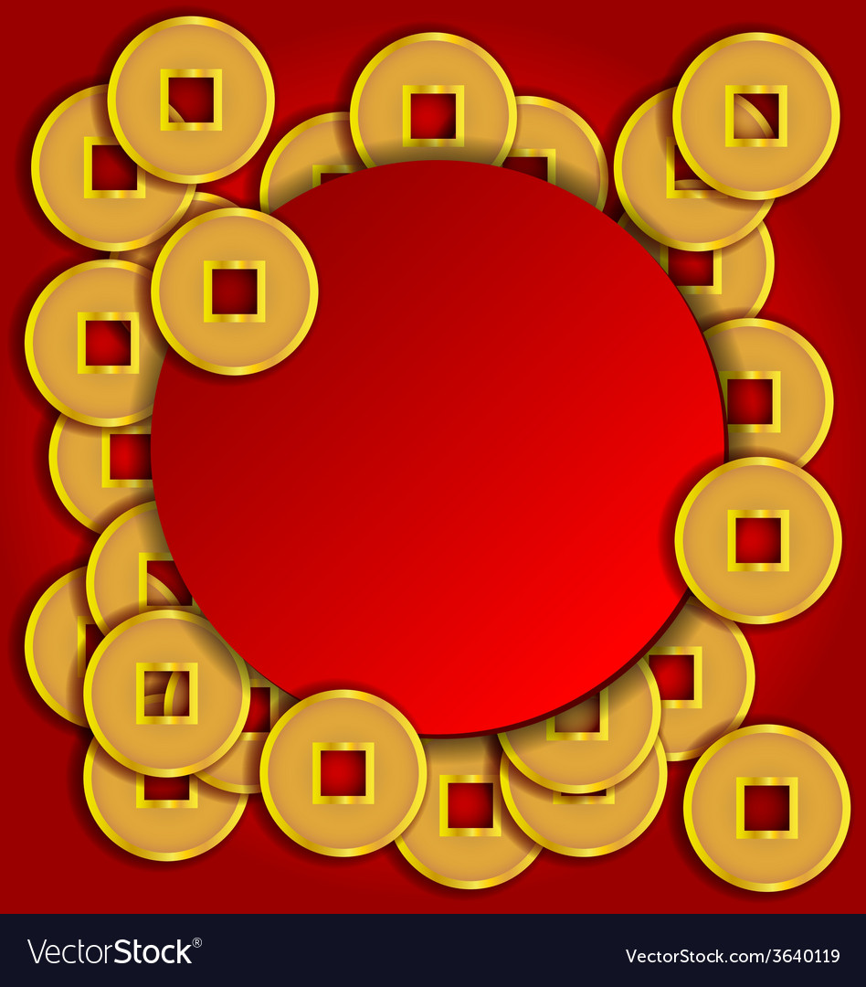 Gold coins background for chinese new year card vector | Price: 1 Credit (USD $1)