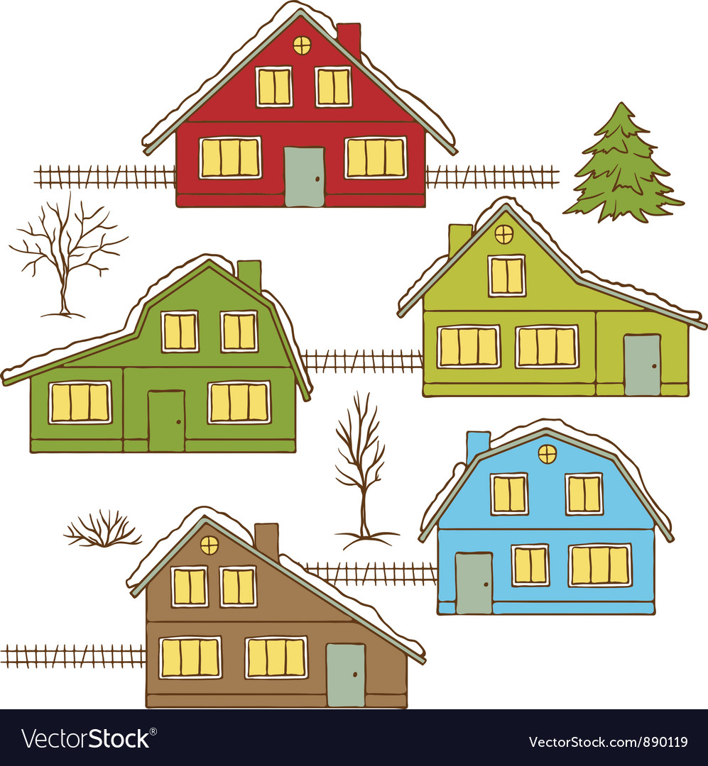 Hand drawing winter houses isolated vector | Price: 1 Credit (USD $1)
