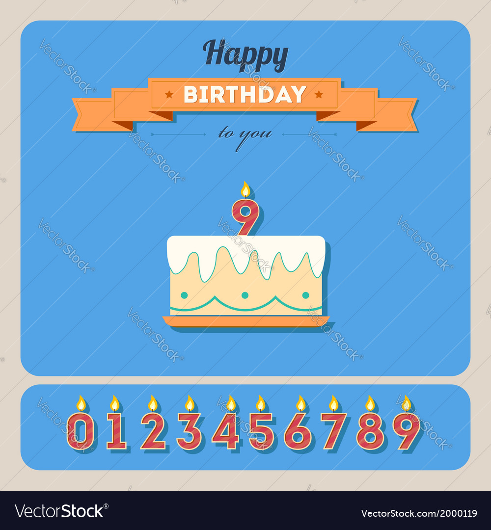 Happy birthday card with cake and candle number vector | Price: 1 Credit (USD $1)