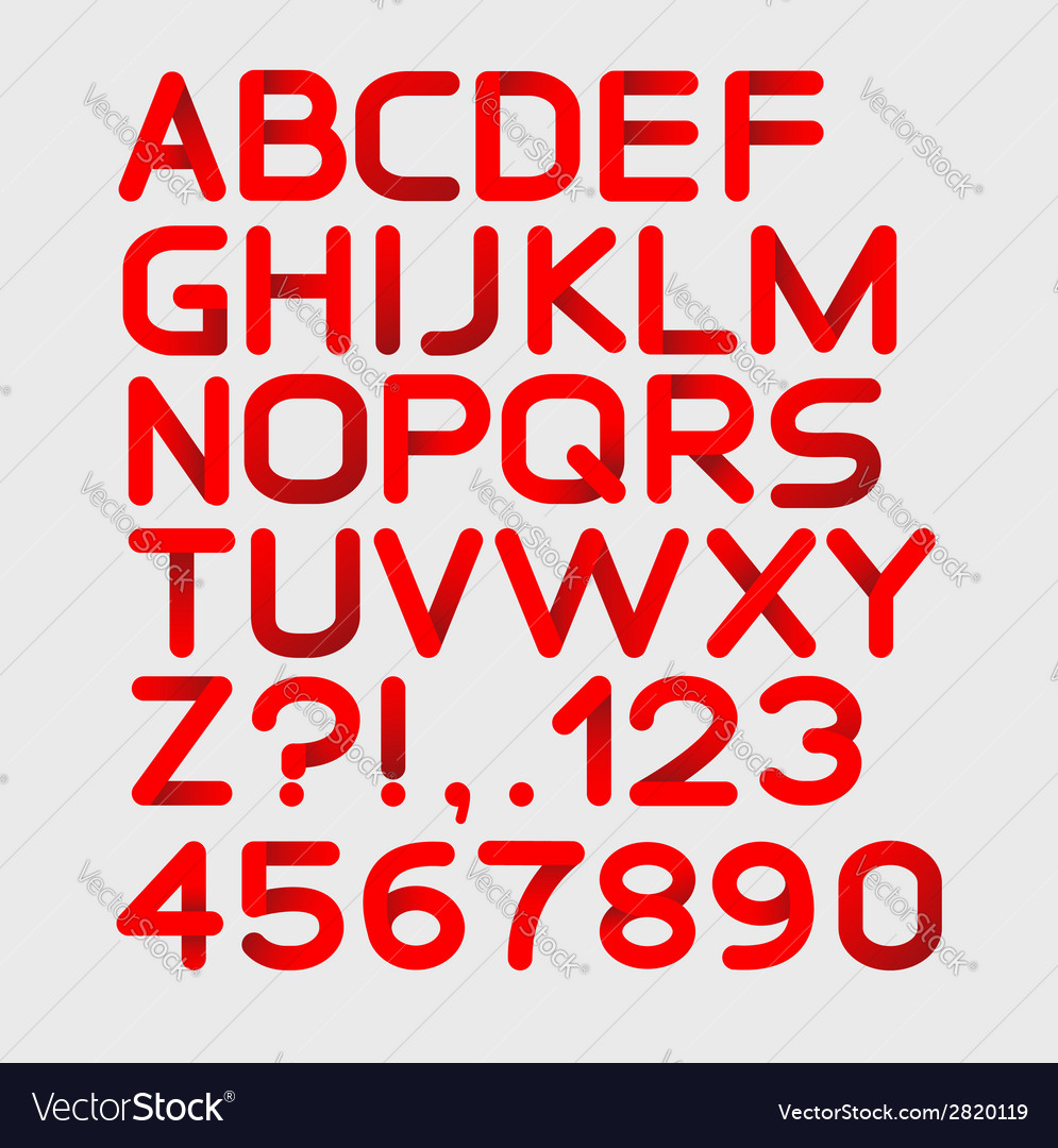 Paper red strict alphabet rounded isolated on vector | Price: 1 Credit (USD $1)