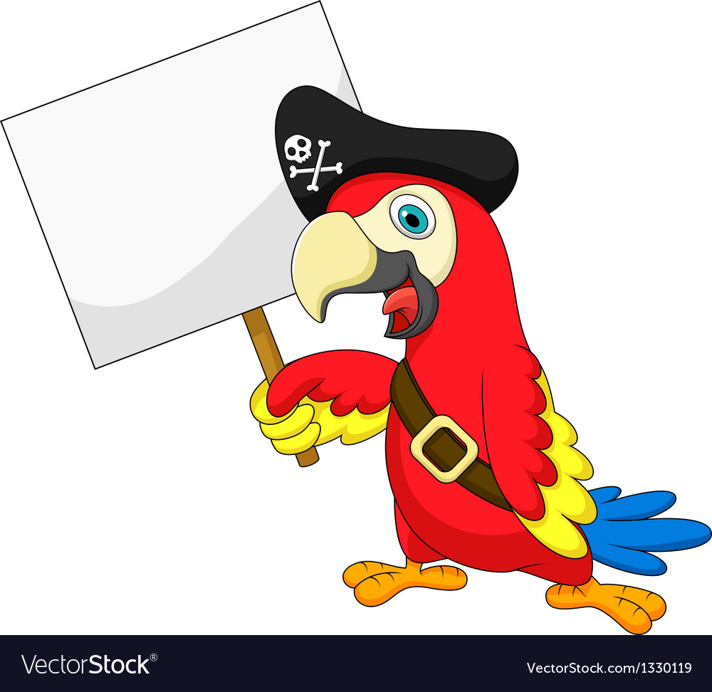 Parrot pirate cartoon with blank sign vector | Price: 1 Credit (USD $1)