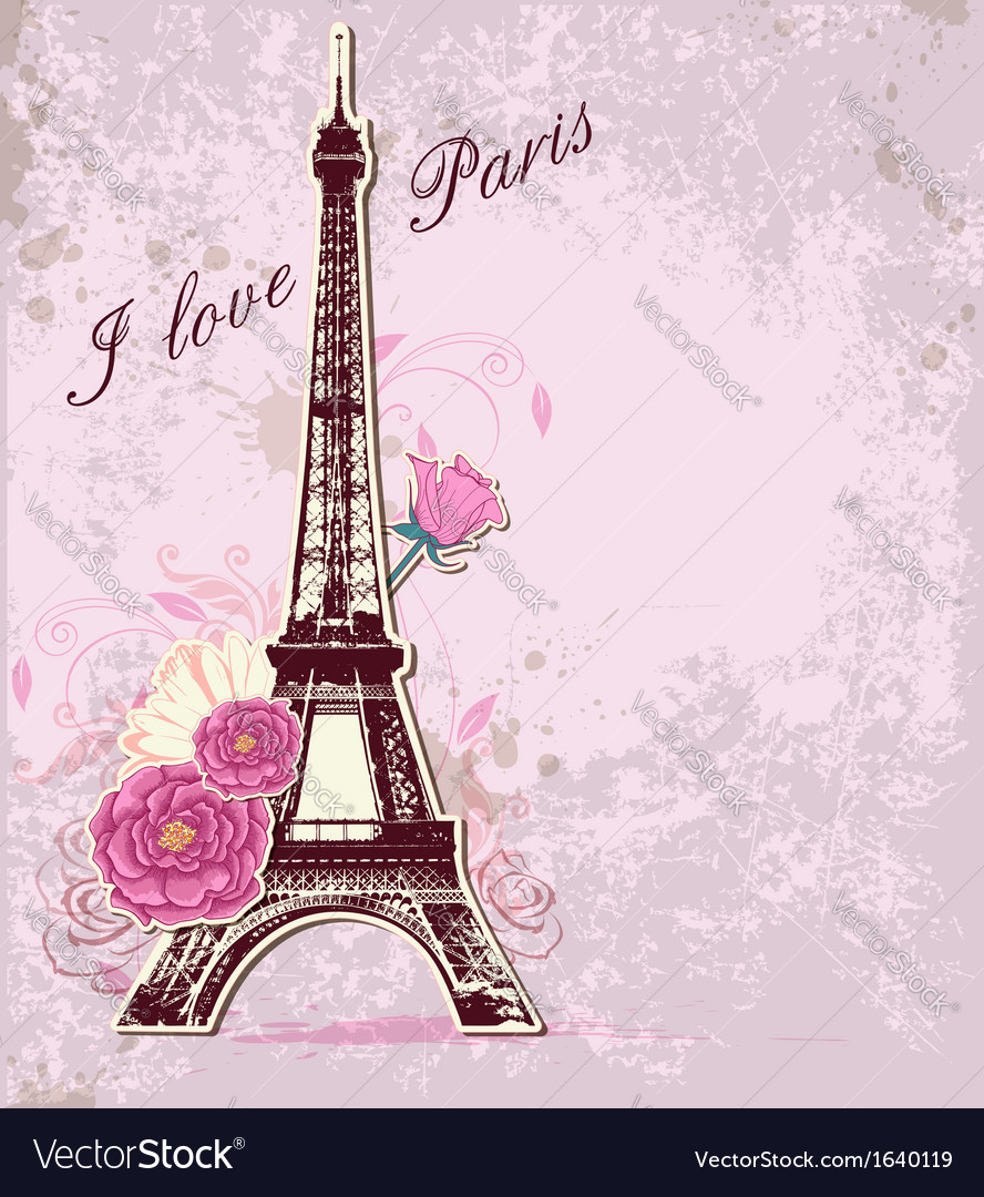 Roses and eiffel tower vector | Price: 1 Credit (USD $1)