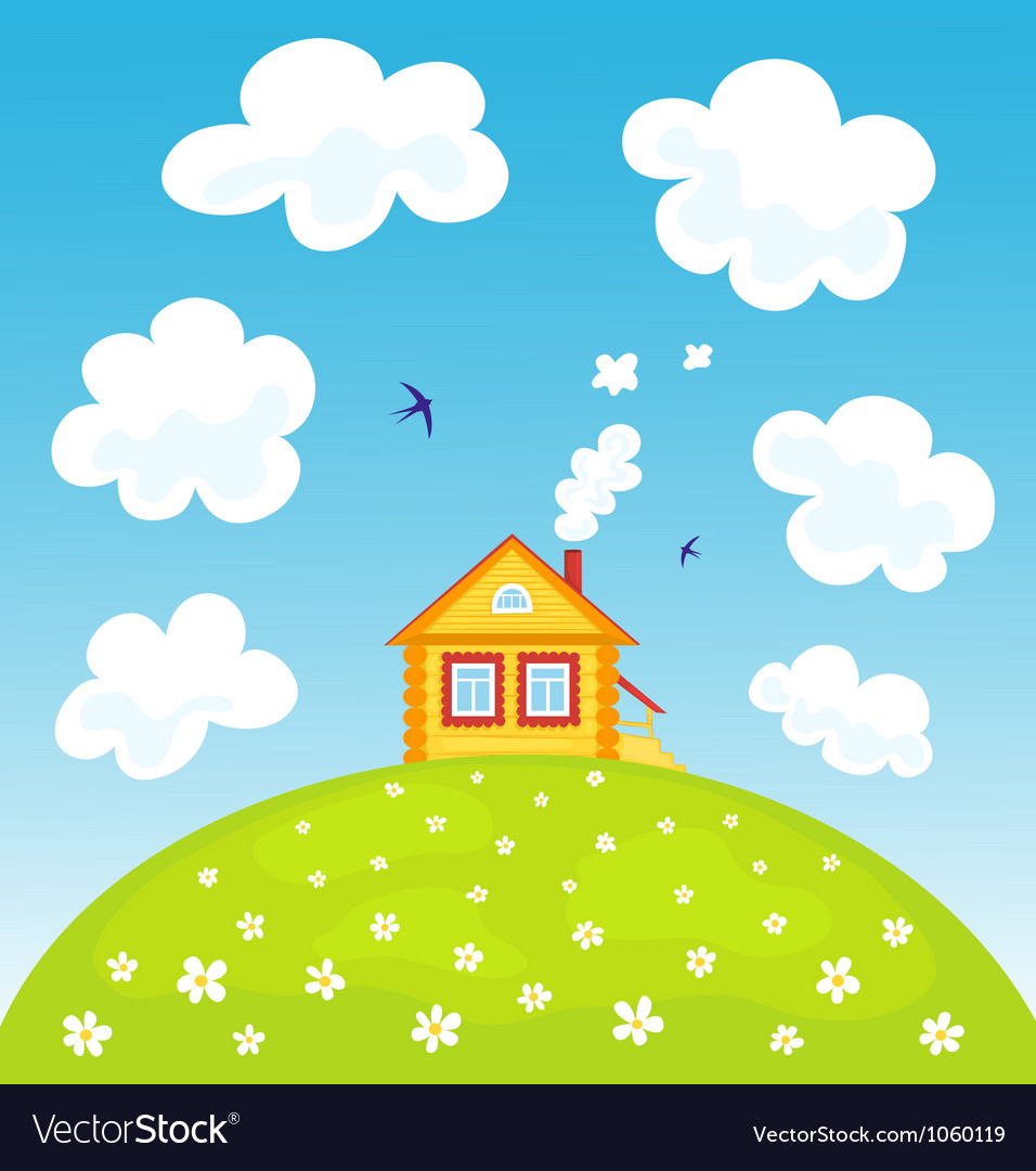 Summer house on the hill vector | Price: 1 Credit (USD $1)