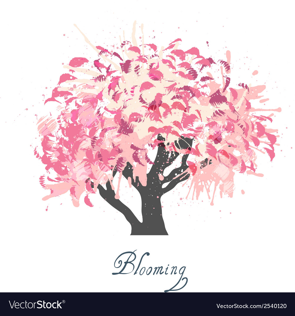 Apple tree blossom sketch vector | Price: 1 Credit (USD $1)