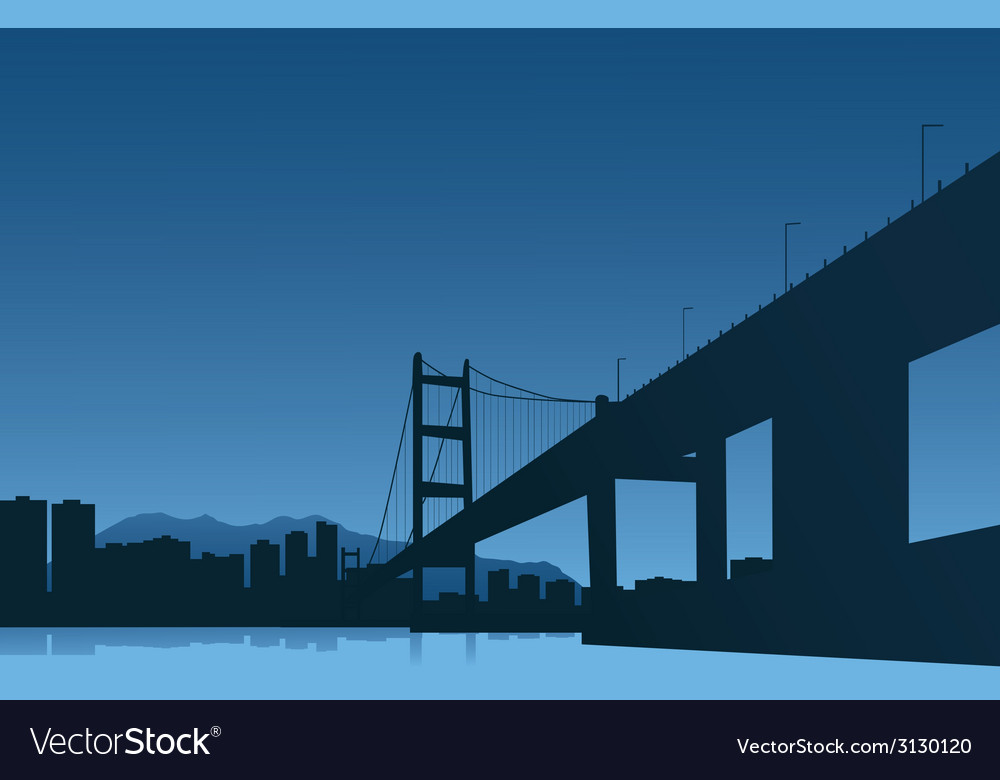 The big city and the bridge on a blue background vector | Price: 1 Credit (USD $1)