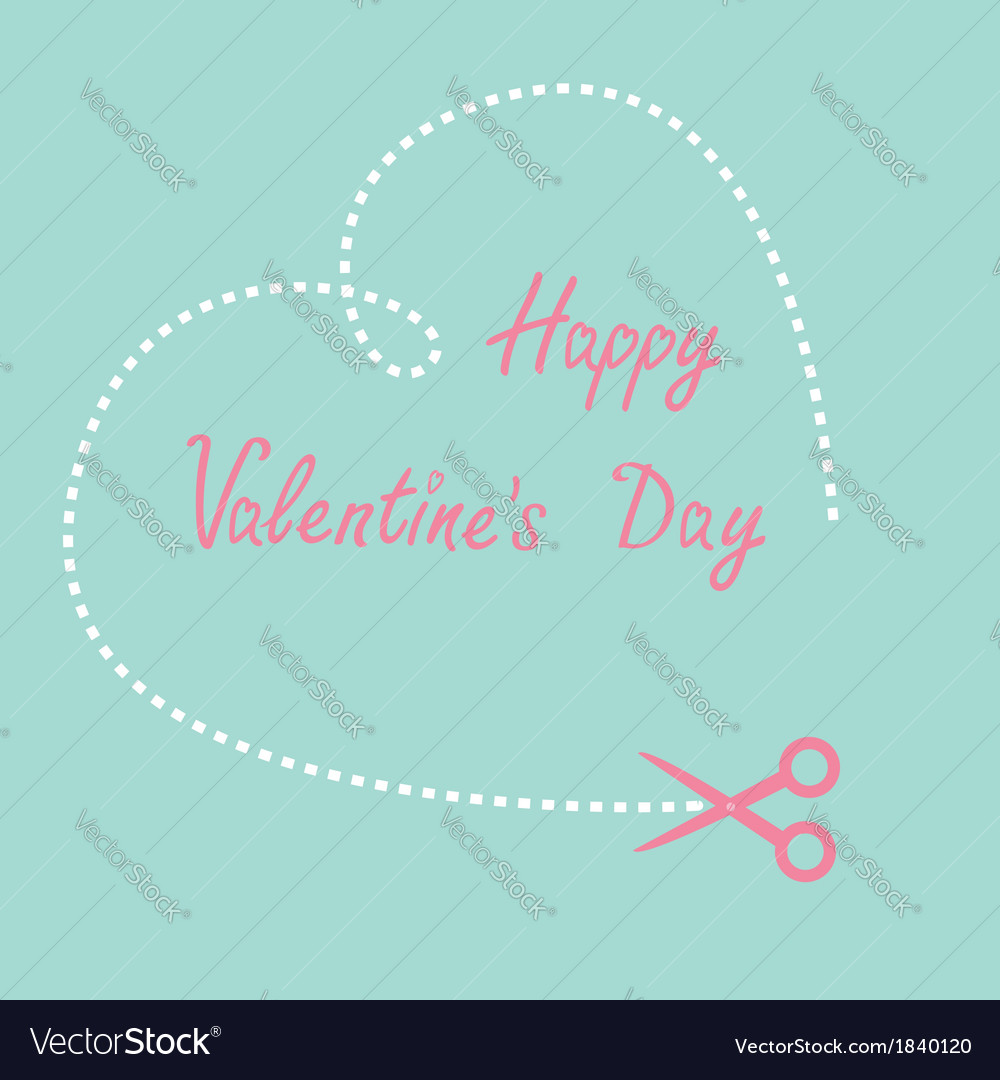 Dash heart and scissors happy valentines day vector | Price: 1 Credit (USD $1)