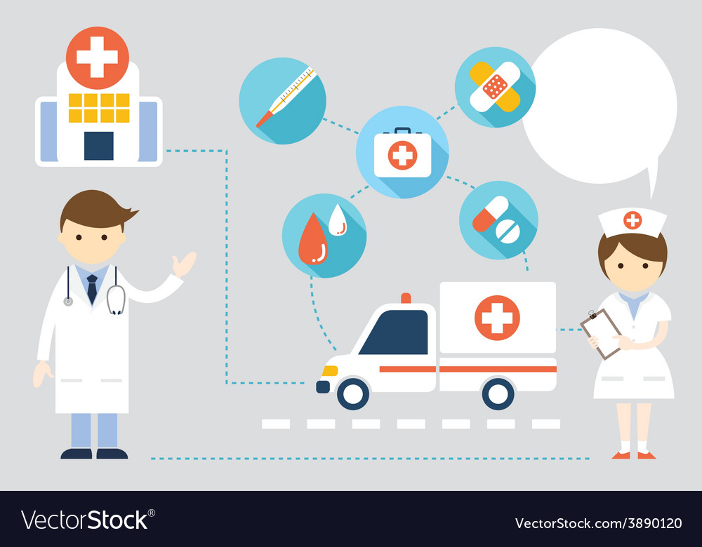 Doctor and nurse present with icons and copy space vector | Price: 1 Credit (USD $1)