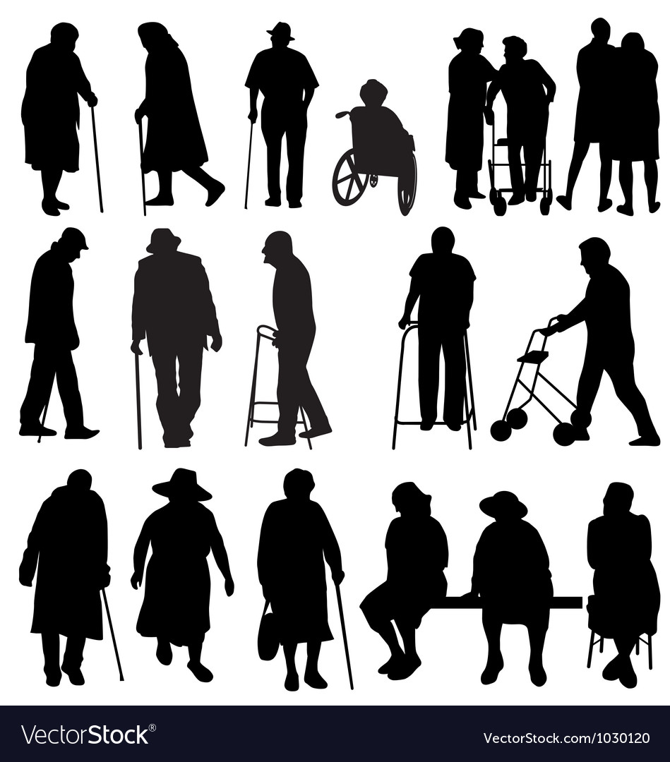 Elderly silhouettes vector | Price:  Credit (USD $)