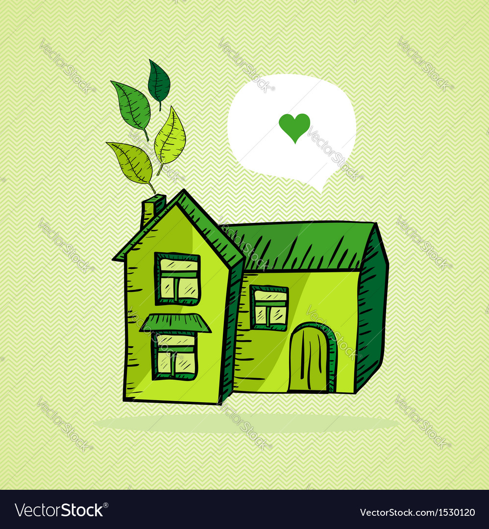 Hand drawn green house vector | Price: 1 Credit (USD $1)