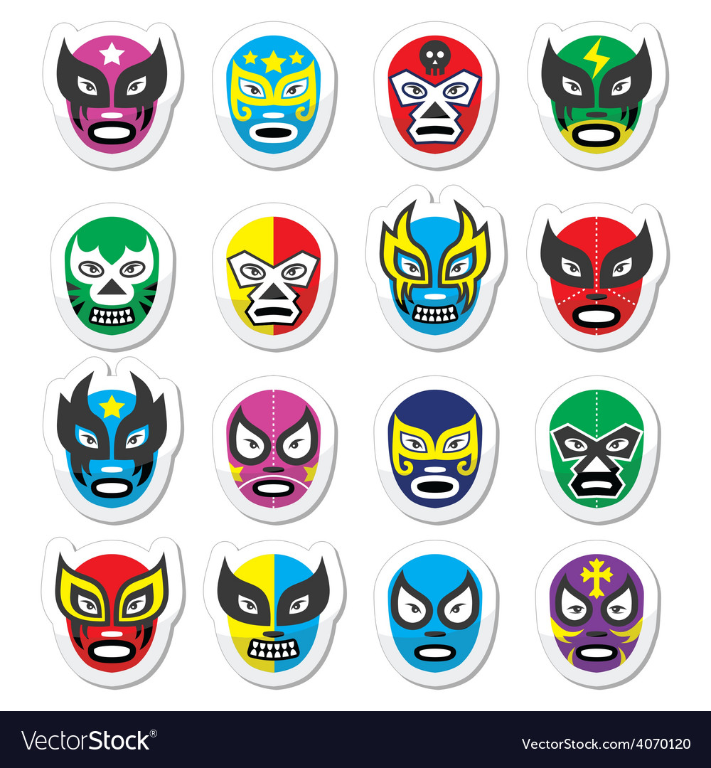 Lucha libre luchador mexican wrestling masks icon vector | Price: 1 Credit (USD $1)