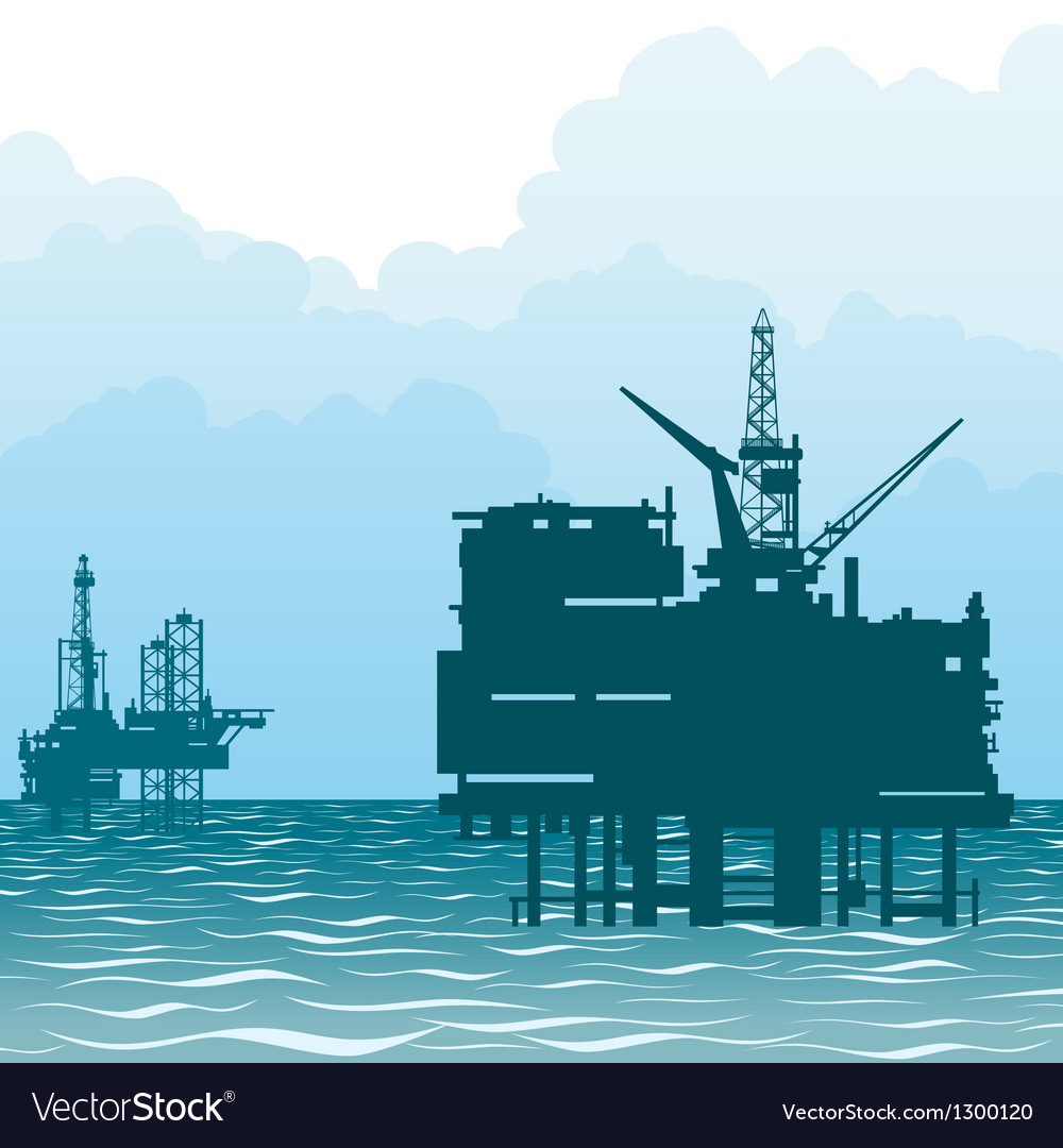 Oil rigs at sea vector | Price: 1 Credit (USD $1)