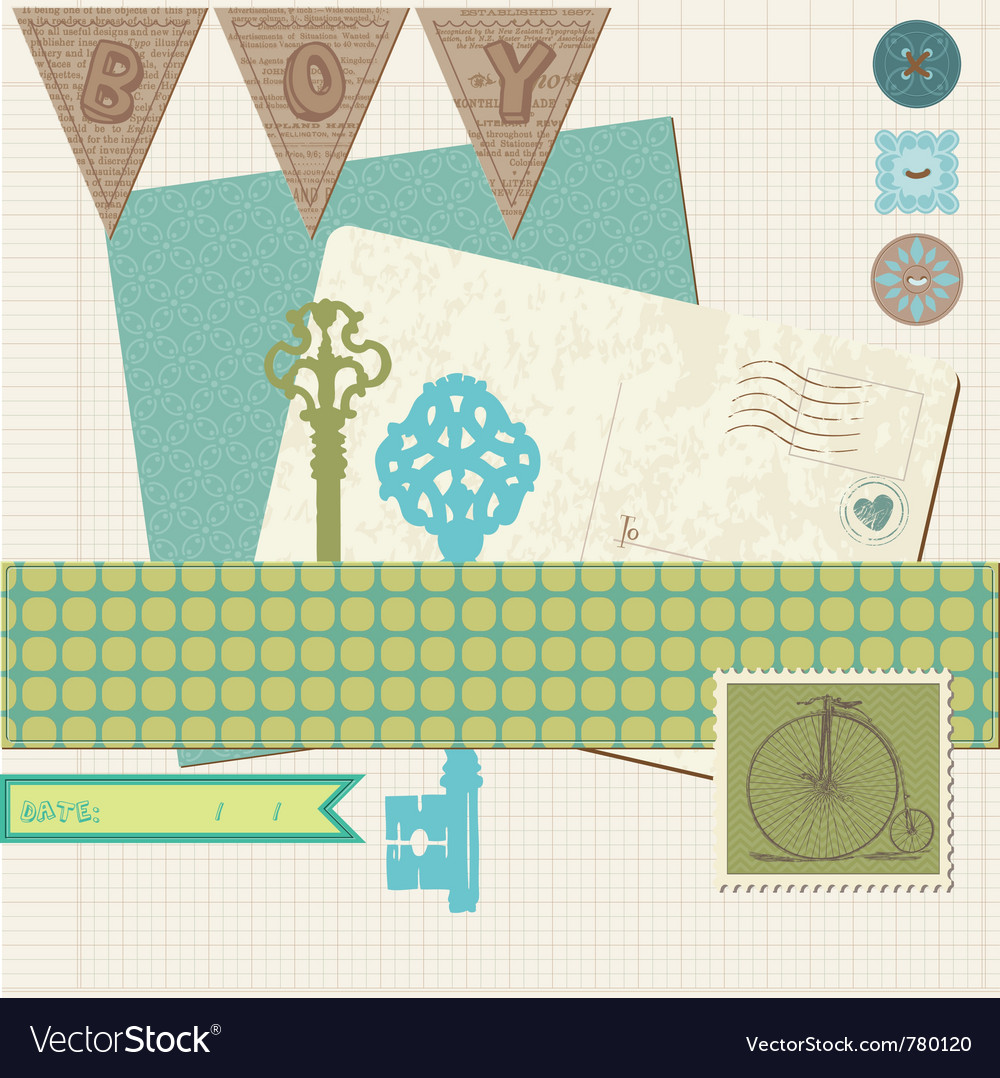 Scrapbook vintage design elements vector | Price: 1 Credit (USD $1)