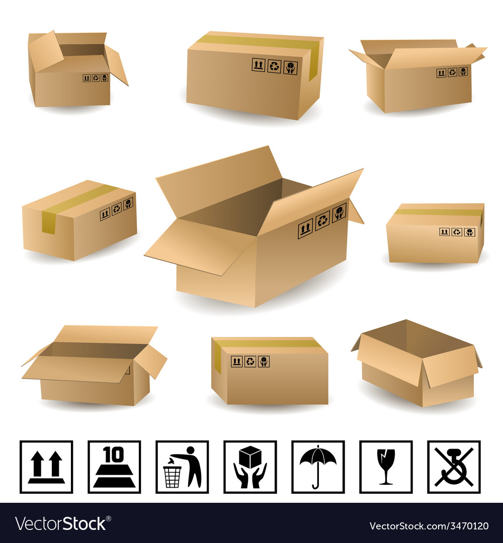 Shipping boxes set vector | Price: 1 Credit (USD $1)