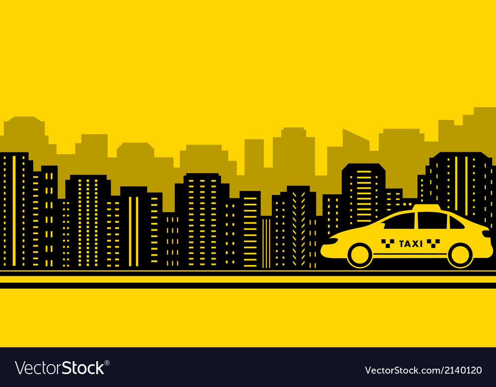 Taxi city background vector