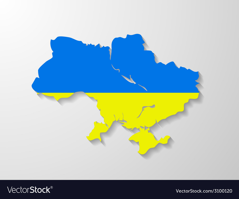 Ukraine flag map with shadow effect vector | Price: 1 Credit (USD $1)