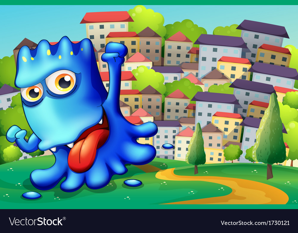 A boastful blue monster above the hill across the vector | Price: 3 Credit (USD $3)