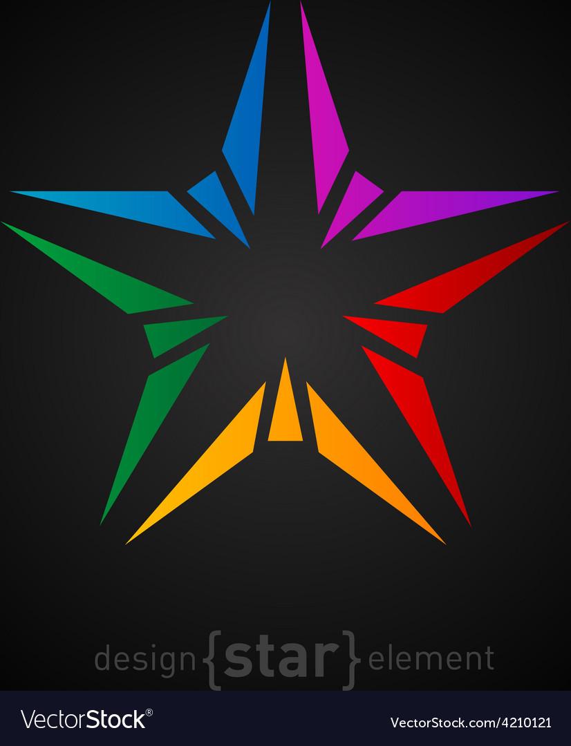 Abstract rainbow star design element on black vector   Price: 1 Credit (USD $1)