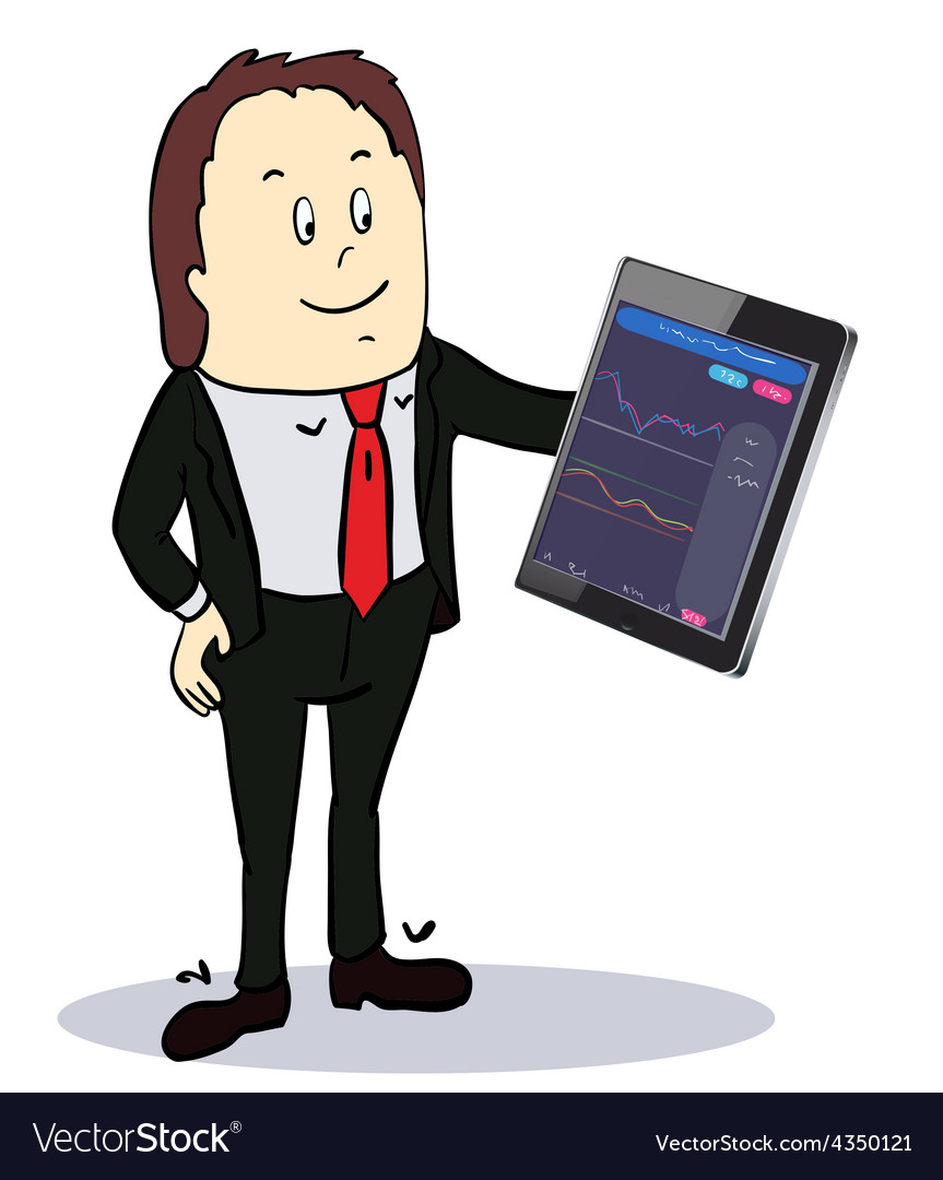Businessman pointing to the screen of a tablet-pc vector | Price: 1 Credit (USD $1)