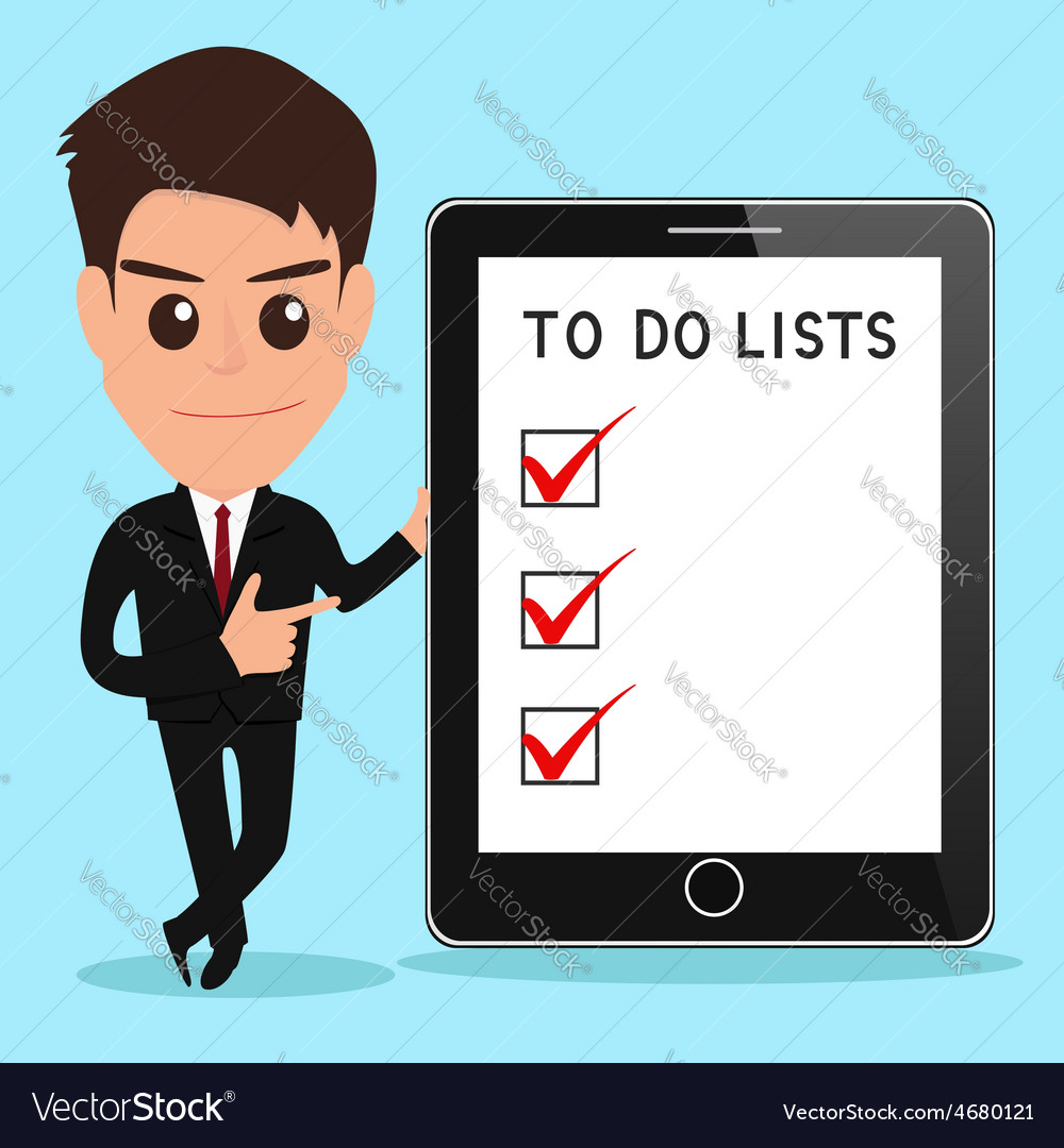 Businessman shows to do lists on tablet screen vector | Price: 1 Credit (USD $1)