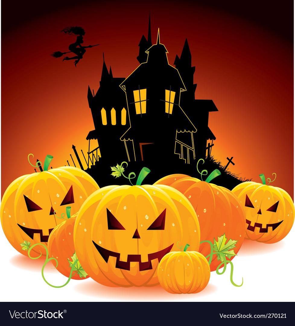 Castle with pumpkins vector | Price: 5 Credit (USD $5)