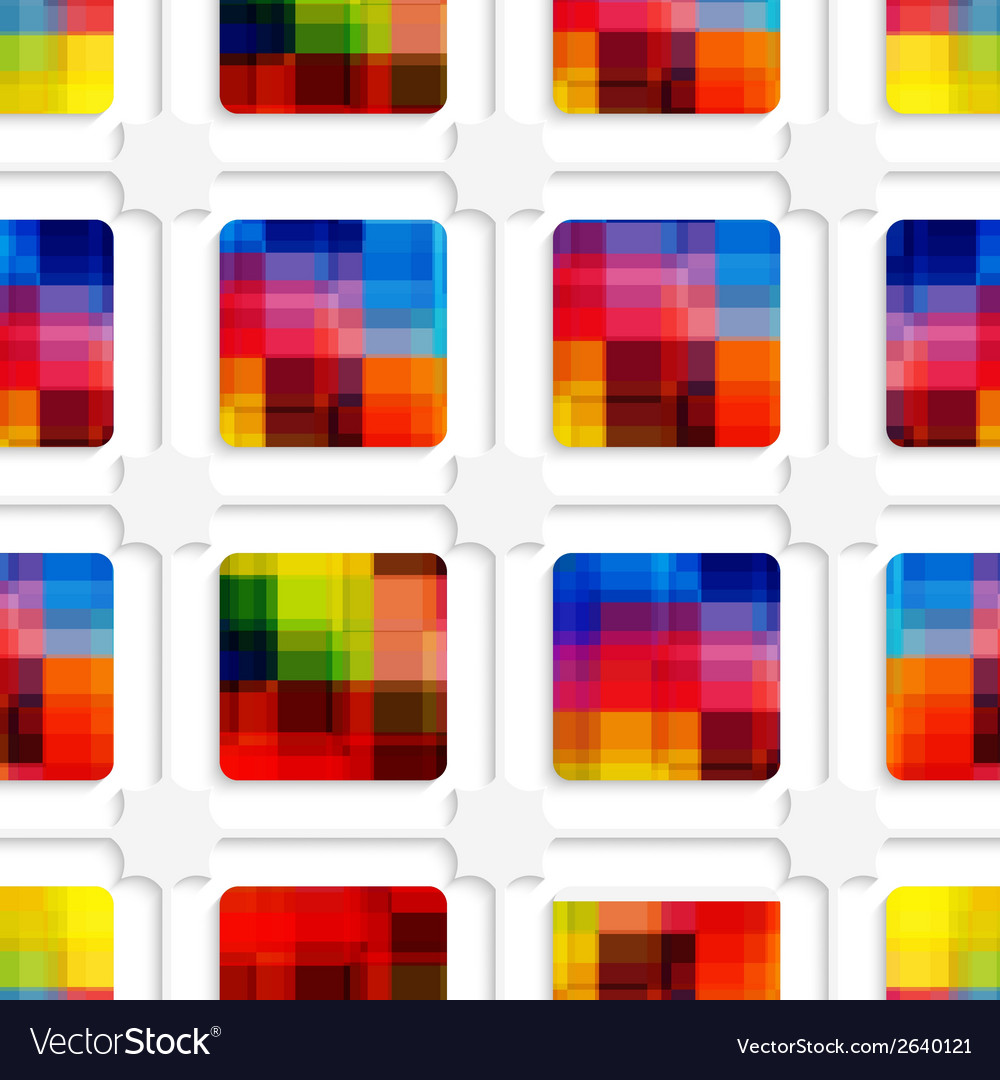 Colorful squares and net seamless pattern vector | Price: 1 Credit (USD $1)